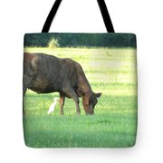 Cow And Friend Abstract Tote Bag