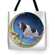 Cow And Moon Tote Bag