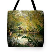 Cow By The Pond Tote Bag