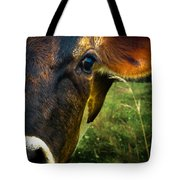Cow Eating Grass Tote Bag