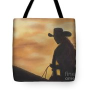 Cow Girl At Sunset Tote Bag