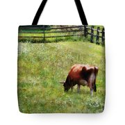 Cow Grazing In Pasture Tote Bag
