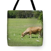 Cow Grazing With Egret Tote Bag