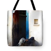 Cow In Temple Udaipur Rajasthan India Tote Bag