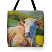 Cow Lying Down  Tote Bag