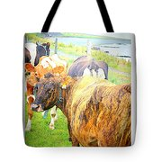 Cows Are Also Having Their Meetings  Tote Bag