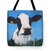 Cow On A Ditch Tote Bag