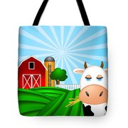 Cow On Green Pasture With Red Barn With Grain Silo  Tote Bag