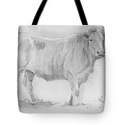 Cow Pencil Drawing Tote Bag