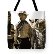 Cowboy And Indian Armory Park Tucson Arizona Black And White Toned Tote Bag