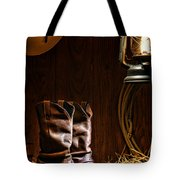 Cowboy Boots At The Ranch Tote Bag by Olivier Le Queinec