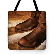 Cowboy Boots On Saloon Floor Tote Bag
