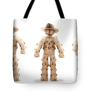 Cowboy Box Characters On White Tote Bag