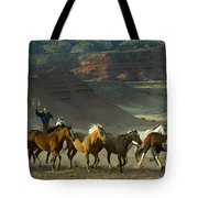 Cowboy Driving Horses Tote Bag