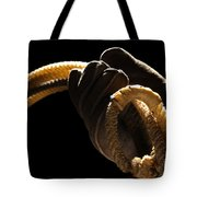 Cowboy Hand Holding Lasso Tote Bag