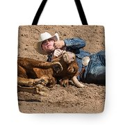 Cowboy Has Steer By Horn Tote Bag