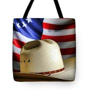 Cowboy Hat And American Flag Tote Bag