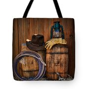 Cowboy Hat And Bronco Riding Gloves Tote Bag by Paul Ward
