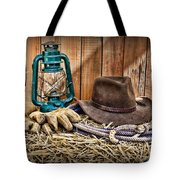 Cowboy Hat And Rodeo Lasso Tote Bag by Paul Ward