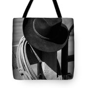 Cowboy Hat On Fence Post In Black And White Tote Bag