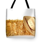 Cowboy Hat On Straw Bale Tote Bag