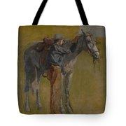 Cowboy In The Badlands Tote Bag