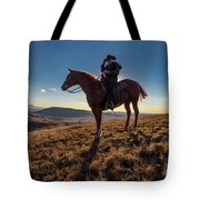 Cowboy Looks Out Over Historic Last Tote Bag