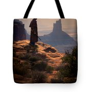 Cowboy On A Cliff Tote Bag