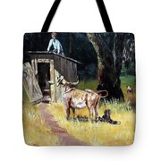 Cowboy On The Outhouse  Tote Bag
