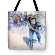 Cowboy Roping Wild Horses Tote Bag