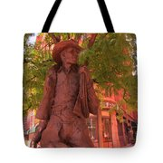 Cowboy Statue In Front Of The Brown Palace Hotel In Denver Tote Bag