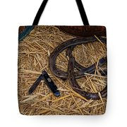 Cowboy Theme - Horseshoes And Whittling Knife Tote Bag by Paul Ward