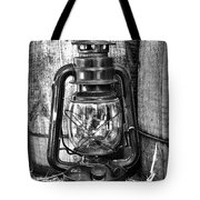 Cowboy Themed Wood Barrels And Lantern In Black And White Tote Bag