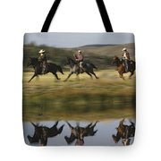 Cowboys Riding With Dogs Oregon Tote Bag