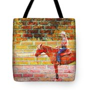Cowgirl In Bricks Tote Bag