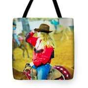 Cowgirl Waiting Tote Bag