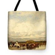 Cows Crossing A Ford Tote Bag