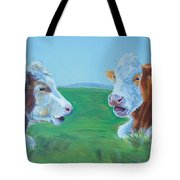 Cows Lying Down Chatting Tote Bag