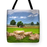 Cows On The Green Field Tote Bag