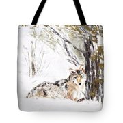 Coyote In The Snow Tote Bag