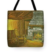 Cozy Fireplace At Lake Hope Ohio Tote Bag