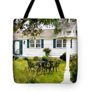 Cozy Little Back Yard Terrace With Table And Chair Tote Bag