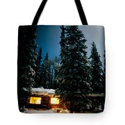 Cozy Log Cabin At Moon-lit Winter Night Tote Bag