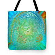 Crab In Plastic Wrap Abstract Tote Bag