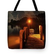 Crab Pot At The End Of The Dock Tote Bag by Michael Thomas