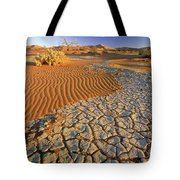 Cracking Dirt And Dunes Namib Desert Tote Bag