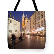 Cracow By Night In Poland Tote Bag