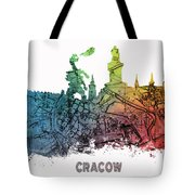 Cracow City Skyline Map Tote Bag