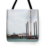 Crane Barge At Hastings Pier Tote Bag