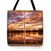 Crane Hollow Sunrise Barn Wood Picture Window Frame View Tote Bag